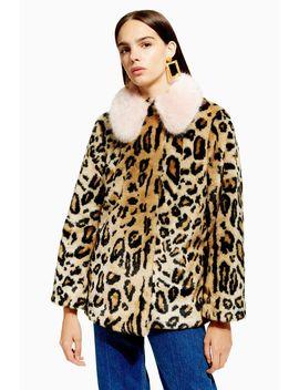 Petite Leopard Faux Fur Coat by Topshop