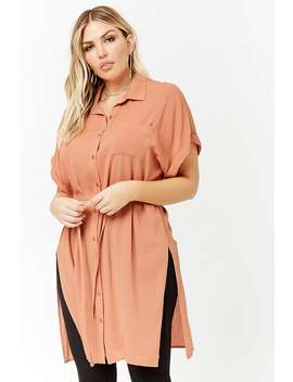 Plus Size Button Front Shirt Dress by Forever 21