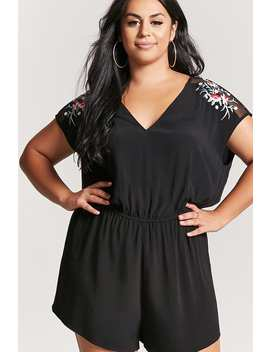 Plus Size Embroidered Mesh Panel Romper by Forever 21