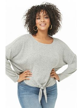 Plus Size Marled Tie Hem Top by Forever 21