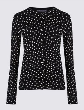 Spotted Round Neck Cardigan by Marks & Spencer
