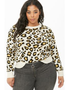 Plus Size Leopard Print Sweater by Forever 21