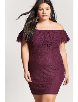 Plus Size Crochet Lace Off The Shoulder Dress by Forever 21