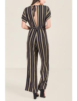 Eden Open Back Striped Jumpsuit by Francesca's