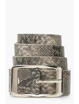 Faux Snake Belt With Silver Buckle by Boohoo