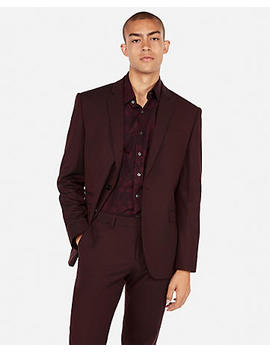 Slim Burgundy Oxford Stretch Wool  Blend Suit Jacket by Express