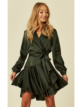 Silky Emerald Wrap Dress by Another Look