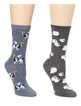 Medium Gray &Amp; Denim Sheep Farm &Amp; Holy Cow Socks   Set Of Two by Davco