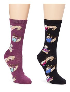 Black & Plum Perfect Sweater Sloth Socks   Set Of Two by Zulily