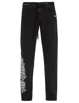Embroidered Slim Leg Jeans by Off White