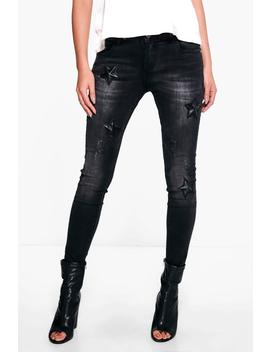 Kellie Star Detail Skinny Jeans by Boohoo