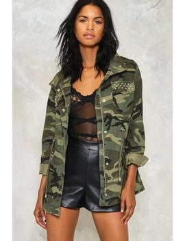 At Ease Studded Camo Jacket by Nasty Gal