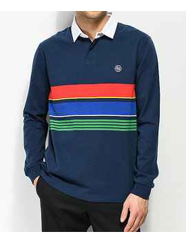 Ninth Hall Carters Navy Stripe Long Sleeve Polo by Ninth Hall