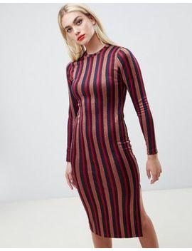 Asos Design Glitter Stripe Bodycon Midi Dress by Asos Design