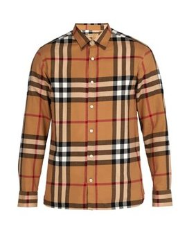 Richard Checked Cotton Flannel Shirt by Burberry