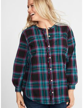Relaxed Plaid Ruffle Trim Plus Size No Peek Shirt by Old Navy