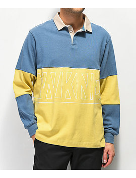 Wknd Navy & Yellow Long Sleeve Polo Shirt by Wknd Skateboards