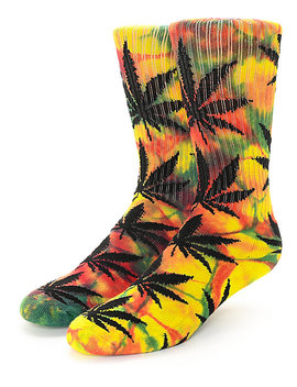 Huf Plantlife Tie Dye Rasta Rainbow Crew Socks by Huf