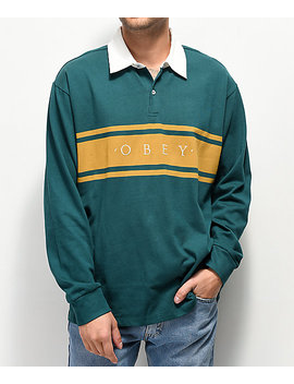 Obey Hero Classic Teal & Gold Long Sleeve Polo Shirt by Obey