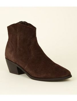 Rust Suede Western Boots by New Look