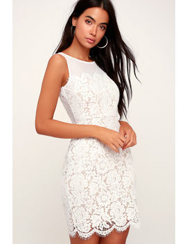 Me And You White Bodycon Lace Dress by Lulus