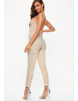 Premium Nude Crystal Embellished Jumpsuit by Missguided