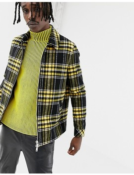 Asos Design Wool Mix Zip Through Jacket In Yellow Check by Asos Design