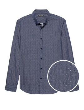 New Slim Fit Dobby Dot Chambray Shirt by Banana Repbulic