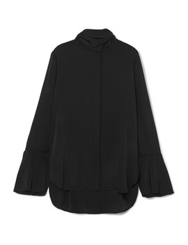 Nouveau Pussy Bow Stretch Silk Satin Blouse by Ellery