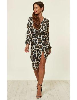 Leopard Print Long Sleeve Wrap Dress by Love