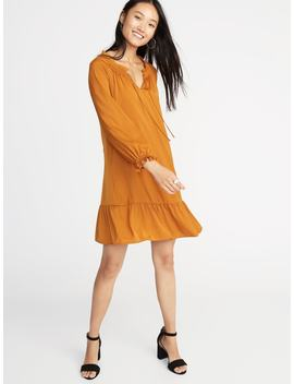Satin Poet Sleeve Swing Dress For Women by Old Navy