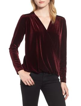 X Glam Squad Mallory Velvet Wrap Top by Gibson