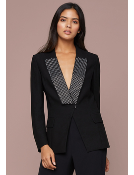 Crystal Collar Crepe Blazer by Bebe