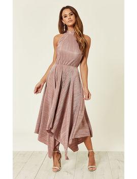 Pleated Halter Asymmetric Dress by Flounce London