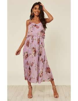 Lilac Floral Print Pleated Cami Midi Dress by Urban Touch
