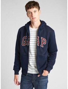 Sherpa Lined Logo Full Zip Hoodie by Gap