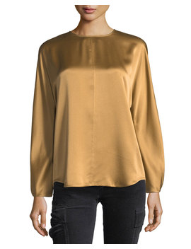 Slit Back Long Sleeve Satin Blouse by Neiman Marcus