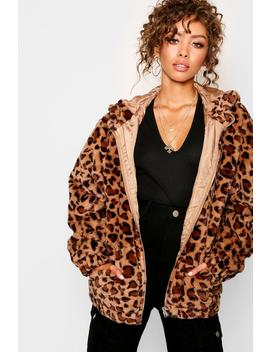 Hooded Leopard Faux Fur Coat by Boohoo