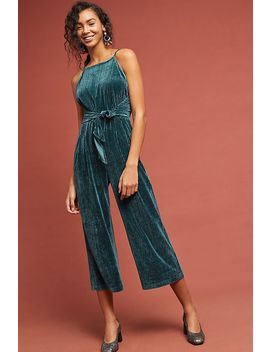Evelyn Velvet Tie Front Jumpsuit by Greylin