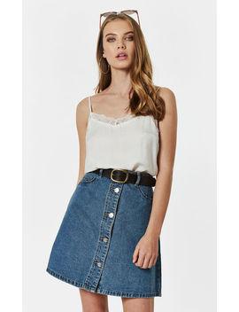 Medium Blue Denim Button Front Skirt by Noisy May