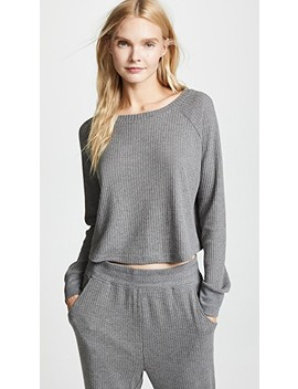 Sneak Peek Waffle Knit Crop Sweatshirt by Honeydew Intimates