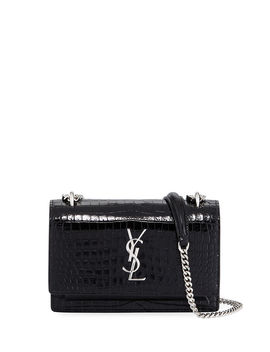 Sunset Monogram Ysl Small Crocodile Embossed Wallet On Chain by Saint Laurent