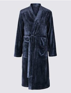 Fleece Dressing Gown With Belt by Marks & Spencer