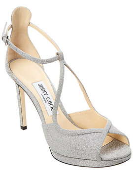 Jimmy Choo Fawne 100 Glitter Leather Platform Sandal by Jimmy Choo