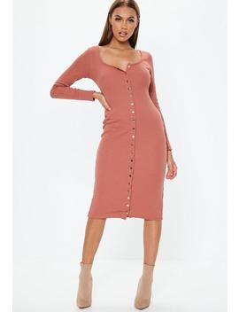 Rust Ribbed Popper Front Midi Dress by Missguided