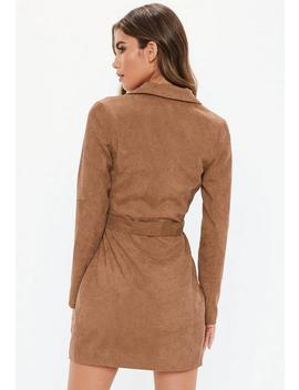 Tan Cord Double Breast Blazer Dress by Missguided