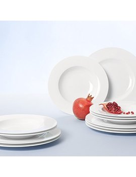 Villeroy & Boch Royal Tafelservice Für Bis Zu 6 Personen, 12 Teilig, Premium Bone Porzellan, Weiß by Amazon