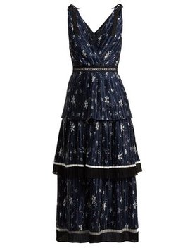 Tiered Star Print Satin Midi Dress by Self Portrait