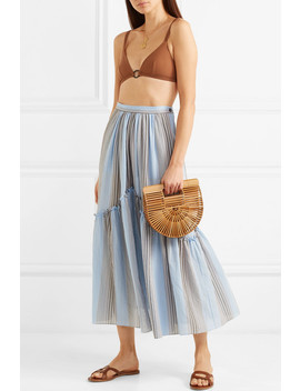 Leila Striped Cotton Gauze Midi Skirt by Three Graces London