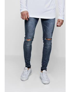 Skinny Fit Ripped Knee Jeans And Let Down Hem by Boohoo